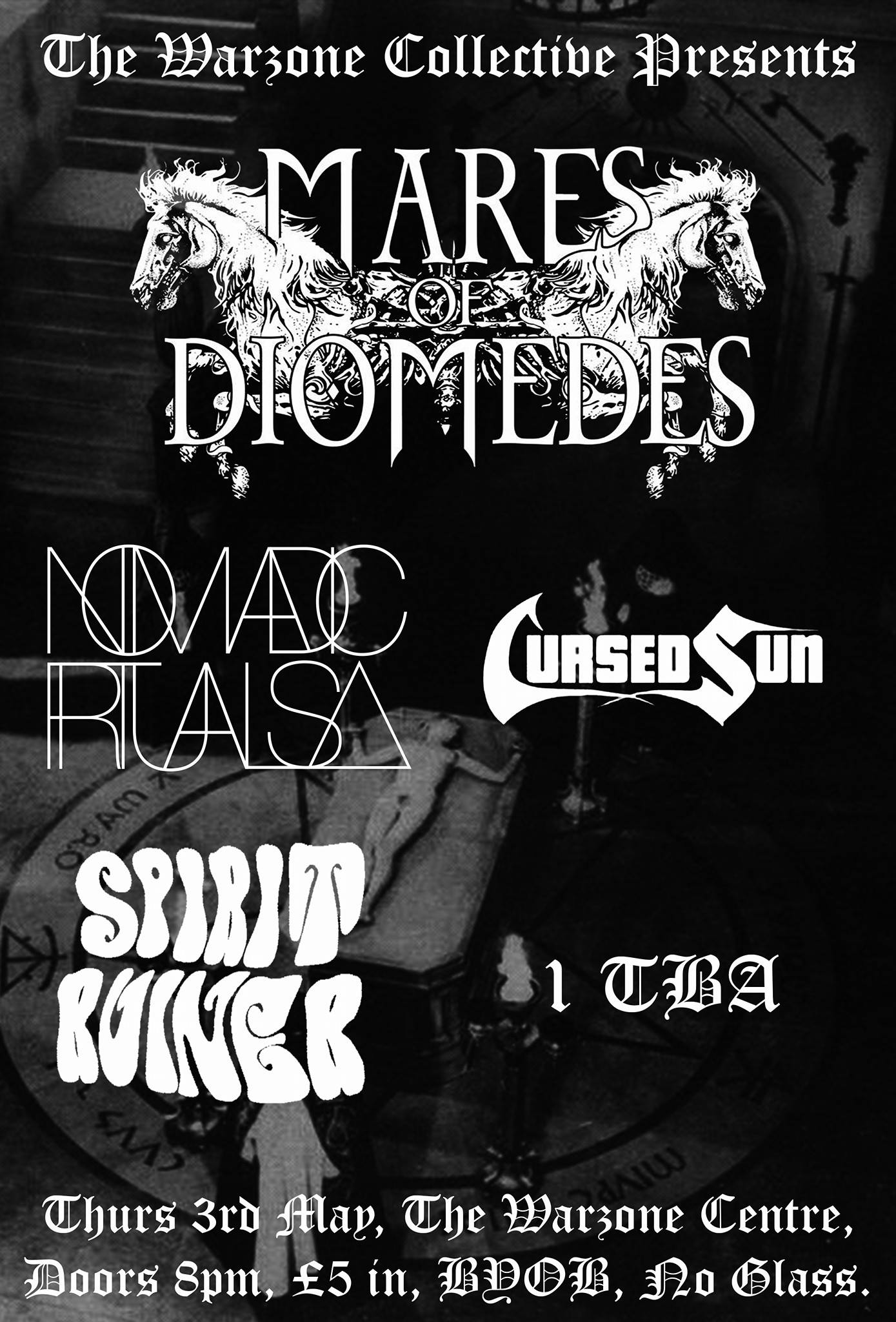 Gig Poster - Mares Of Diomedes, Nomadic Rituals, Cursed Sun, Spirit Ruiner - 3rd May 2018